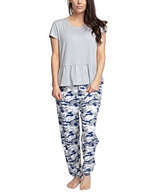 Solid Top & Printed Jogger Pajama Pants Set