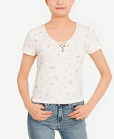 Juniors' Printed Crisscross T-Shirt