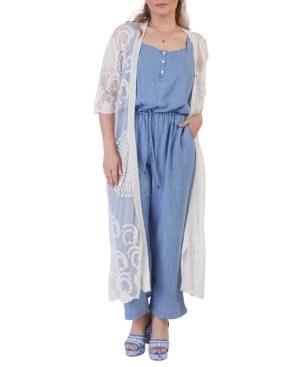 Plus Size Embroidered Mesh Duster Kimono