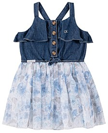 Little Girls Dark Denim Halter and Mesh Skirt Dress