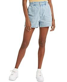 High-Waist A-Line Denim Shorts