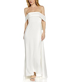 Crepe Taffeta Bow Gown