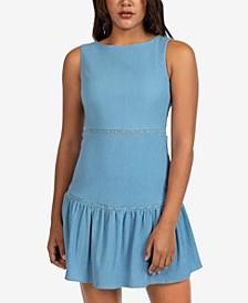Juniors' Solid Sleeveless Gauze Ruffled A-Line Dress