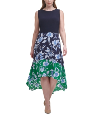 Plus Size High-Low Colorblocked Dress