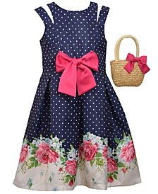 Little Girls Sleeveless Shantung Floral Border Print Dress with Straw Handbag