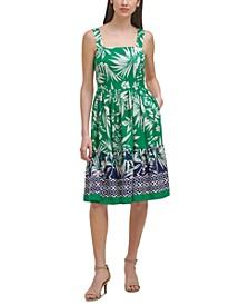 Petite Printed Square-Neck Dress