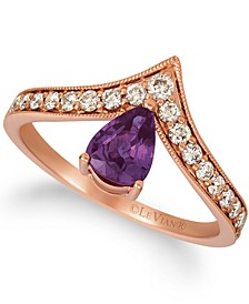 Grape Amethyst (1/2 ct. t.w.) & Nude Diamond (1/3 ct. t.w.) V Statement Ring in 14k Rose Gold