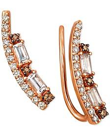 Peach Morganite™ (1/3 ct. t.w.) & Diamond (1/3 ct. t.w.) Ear Climbers in 14k Rose Gold