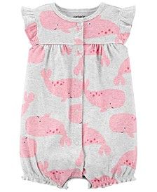 Baby Girls Whale Snap-Up Romper