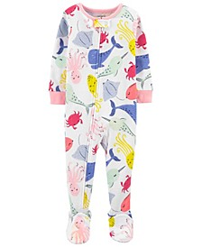 Baby Girls Whales Cotton Footie Pajamas