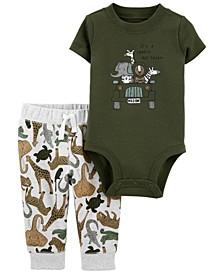 Baby Boys Safari Bodysuit Pant Set, 2 Pieces