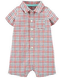 Baby Boys Plaid Button-Front Romper