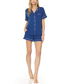 Women's Annie Button Down Shorty Notch Pajama Set