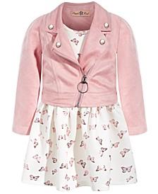 Baby Girls 2-Pc. Butterfly-Print Dress & Moto Jacket