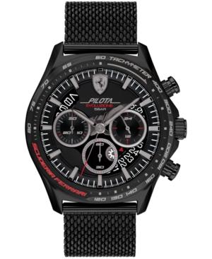 Men's Chronograph Pilota Evo Black-Tone Stainless Steel Mesh Bracelet Watch 44mm