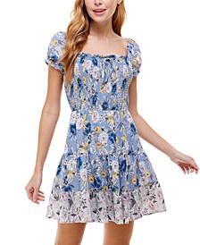 Juniors' Tiered Floral-Print Dress
