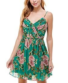 Juniors' V-Neck Floral Fit & Flare Dress