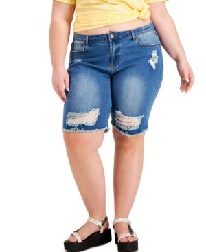 Trendy Plus Size Destructed Bermuda Jean Shorts