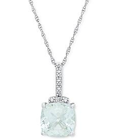 "Aquamarine (1-1/3 ct. t.w.) & Diamond Accent 18"" Pendant Necklace in 10k White Gold"