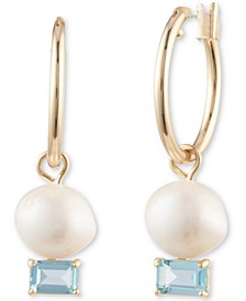 Gold-Tone Imitation Pearl & Stone Hoop Drop Earrings