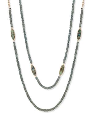 "Gold-Tone Stone Beaded 36"" Strand Necklace"