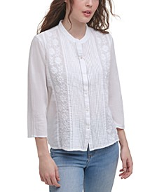 Cotton Embroidered Pintuck Top