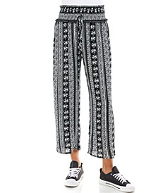 Juniors' Smocked-Waist Cropped Pants