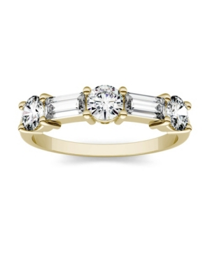 Moissanite Round and Baguette Stackable Ring 1-1/6 ct. tw. Diamond Equivalent in 14k Gold