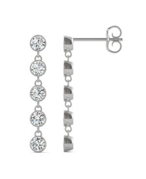 Moissanite Bezel Drop Earrings 1 ct. t.w. Diamond Equivalent in 14k White Gold