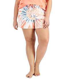 Plus Size Cotton Tie-Dyed Pajama Shorts, Created for Macy's