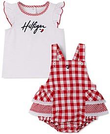 Baby Girls 2-Pc. T-Shirt & Gingham Ruffled Skirtall Set