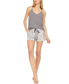 Women's Jillian Solid Knit Tank with French Terry Short, 2 Piece