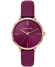 Women's Jayne Three-Hand Berry Leather Strap Watch 38mm