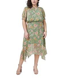 Plus Size Puff Sleeve Verona Gardens Asymmetric Hem Dress
