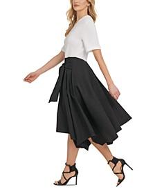 Mixed-Media Asymmetrical-Hem Midi Dress
