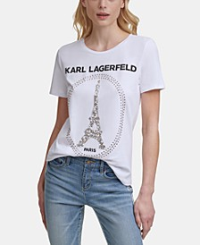 Karl Lagerfeld Sequin Eiffel Tower Tee