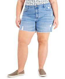 Plus Size High-Rise Cut-Off Denim Shorts, Created for Macy's