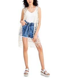 Juniors' Cotton Crochet Fringe-Trim Vest