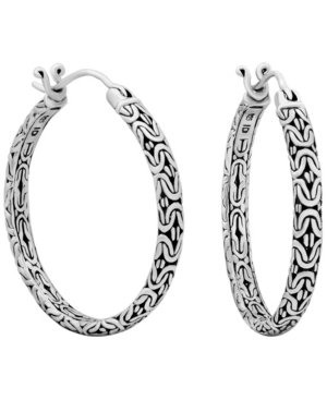 Bali Filigree Byzantine Hoop Earrings in Sterling Silver