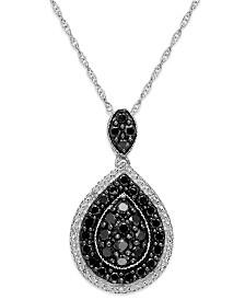 Sterling Silver Black and White Diamond Pear Shape Pendant