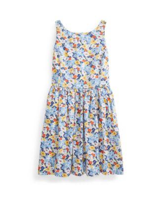 폴로 랄프로렌 Polo Ralph Lauren Big Girls Floral Poplin Dress,Preppy Floral