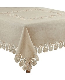 """Lace Tablecloth with Rose Border Design, 72"""" x 72"""""""