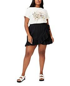 Trendy Plus Size Ruffle Beach Mini Skirt