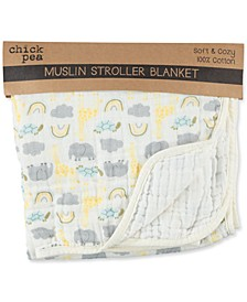 Baby Boys or Girls Printed Cotton Muslin Stroller Blanket