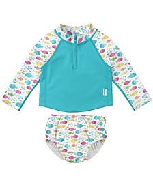 Baby Girls Two-Piece Rashguard Set with Snap Reusable Absorbent Swim Diaper