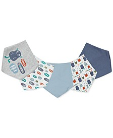 Baby Boys 5-Pack Printed Cotton Bandana Bibs