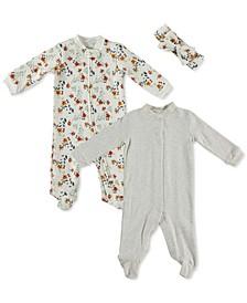 Baby Girls 3-Pc. Printed Coveralls & Headband Set