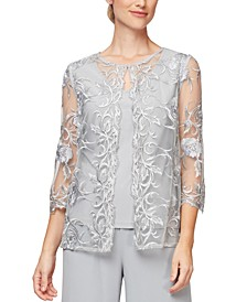 Petite Embroidered Layered-Look Top