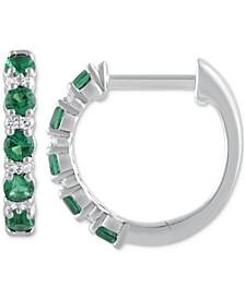 "Emerald (3/8 ct. t.w.) & Diamond (1/20 ct. t.w.) Small Hoop Earrings in 14k White Gold, 1"" (Also in Sapphire & Ruby)"
