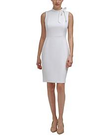 Petite Solid Bow-Neck Sheath Dress